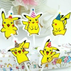 5 birthday candles showing the Pokemon Pikachu on a white background