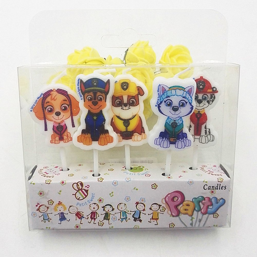 5 Paw Patrol Birthday candles showing different characters on a white background