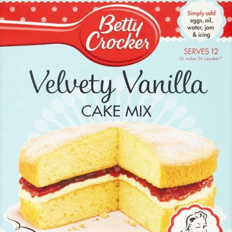 A packet of vanilla cake mix.