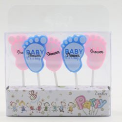 A packet of 5 Baby Feet Candles