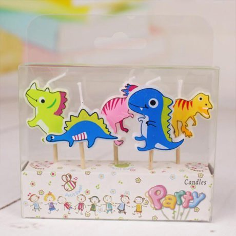 A packet of 5 Dinosaur birthday Candles