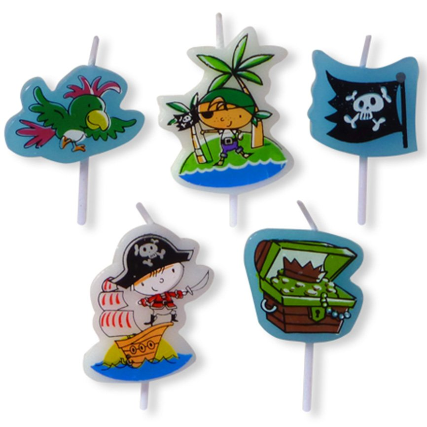 5 Pirate party candles including pirates a treasure chest, parrot and jolly roger flag