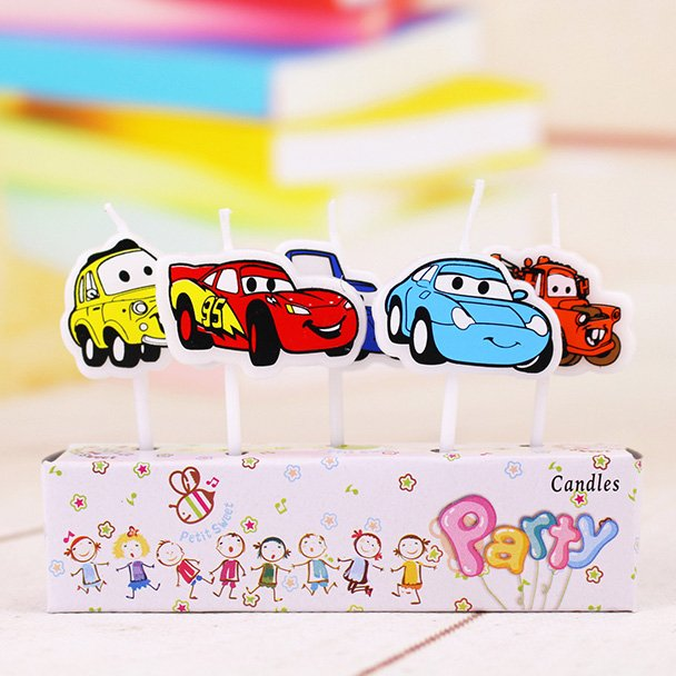 A packet of 5 Disney Cars Candles with five different characters