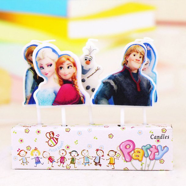 Disney Frozen Candles featuring five characters from the movie.