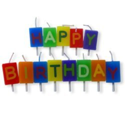 13 Individual Letter Candles in various colours spelling Happy Birthday