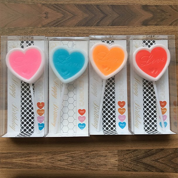 Single Heart Shaped Candles with Love etched in the middle