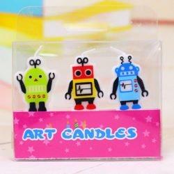 3 Fun Robot Candles