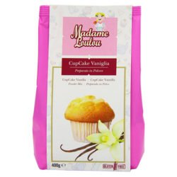 A packet of vanilla cupcake mix.