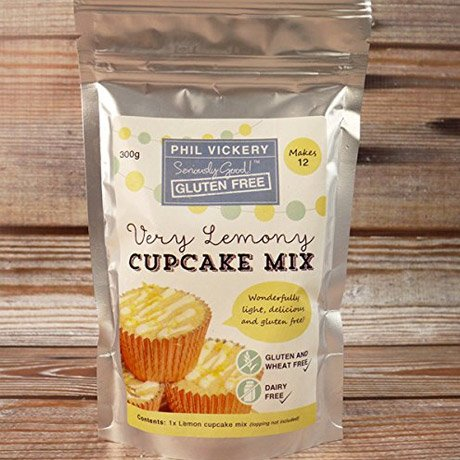 A packet of gluten free lemon cupcake mix