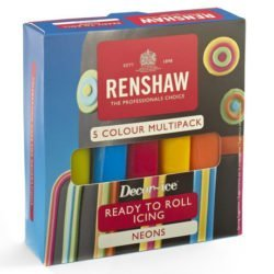 A packet of ready to roll icing for cakes in five colours