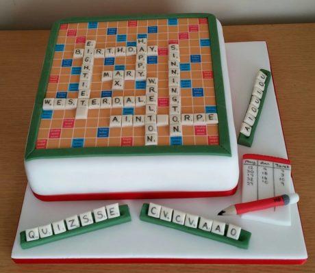 Scrabble Birthday Cake