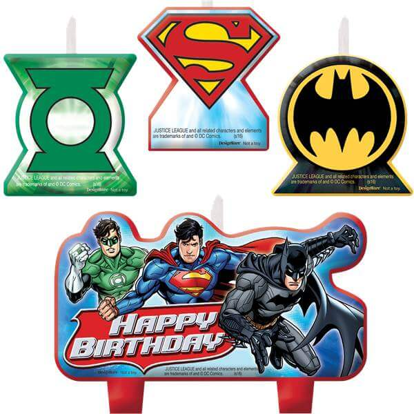Justice League Candles featuring Green Lantern, Superman and Batman and Happy Birthday Cake Candle