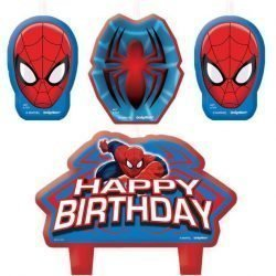 4 Spiderman birthday party cake candels