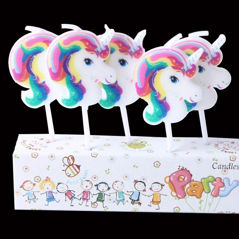 photo of 5 unicorn head birthday candles