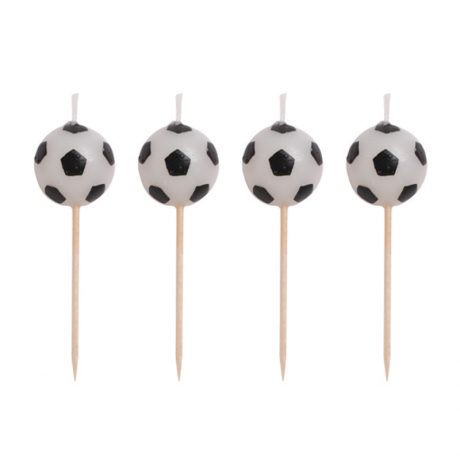 Photo of four individual candles which feature a football.